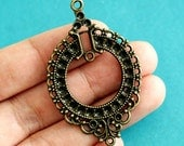 Sale Lead Free 8pcs Antique Bronze Filigree Pendants A11-2716-AB-FF