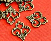 20pcs Antique Bronze Finish Brass Filigree Patchs