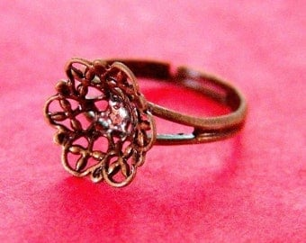 Sale 4pcs Brass Adjustable Flower Ring Base - Nickel Free JE502-AB