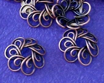 Sale 10pcs Antique Copper Flower Wire Bead Caps