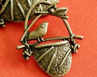 Sale 15pcs Antique Bronze Bird In Cage Pendants EA11614Y-AB