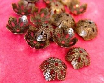 Wholesale 100pcs Antique Bronze Five Leaves Bead Caps A012