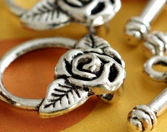 Sale 12 Antique Silver Rose Flower Clasp Set