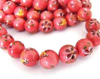Sale 6pcs 12mm Coloured Drawing Shell Round Bead - 122