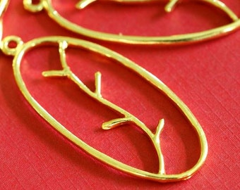 Sale 10pcs GOLDEN Oval with Branch Pendants EA10907Y