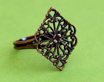 Sale 4pcs Antique Copper Adjustable Flower Ring Base - Nickel Free JE504-R