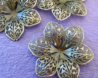 10pcs 44mm Antique Bronze Filigree Flower Wraps A3-1
