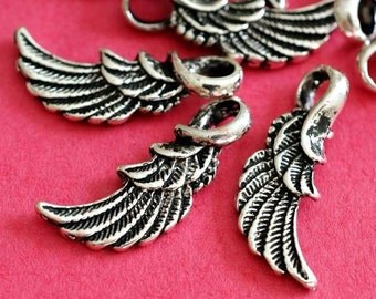 SALE 12pcs Antiqued Silver Angel Wing Alloy Pendants EA11934Y