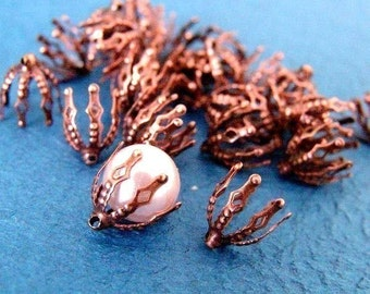 25pcs Antique Copper Flower Bell Shape Filigree Bead Caps F2-R