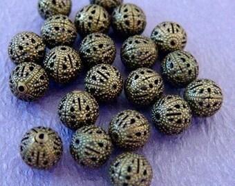 50pcs 10mm Antique Bronze Filigree Beads A042