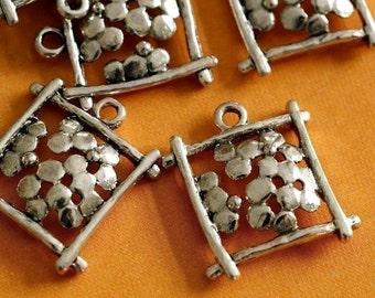 Sale  Nickel Free 12pcs Antique Silver Rectangle with Flower Pendants EA10946Y-NFS
