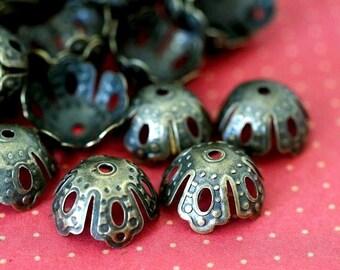 Sale 50pcs 15mm Antique Bronze Filigree Beads Caps A0063