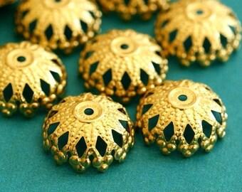Sale Top Quality 24pcs 12mm Raw Brass Filigree Bead Caps JOK5G