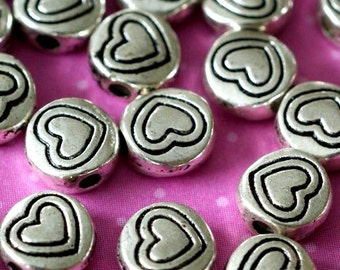 Clearance Lead Free 100pcs Antique Silver Round Whit Heart Beads 6mm LFH10014Y