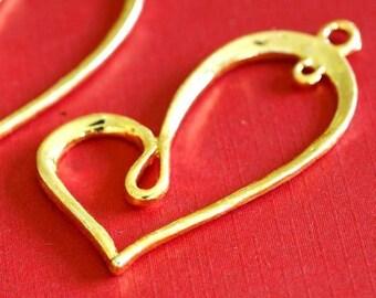 Sale 4pcs Golden Big Twist Heart Pendants A10930-G