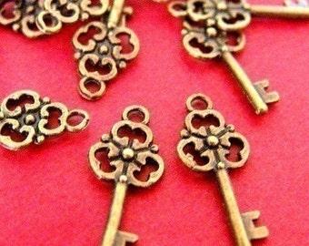 24pcs Antique Bronze Key Charms (23mm )