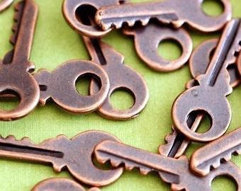 Sale 24pcs Antique Copper Small Key Pendants EA11603Y-R