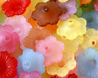 Sale 100pcs MIX Color Acrylic FLower Bead Caps PL561