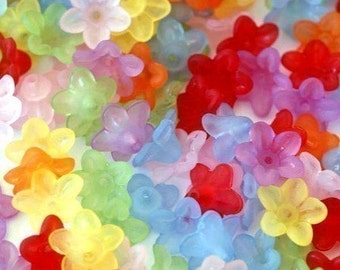 Sale 100pcs Small Mix Color Acrylic Flower Bead Caps PL554