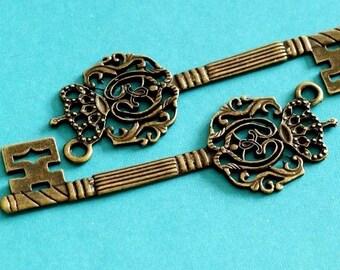 Sale 4pcs Big Antique Bronze Key Pendants EA10926Y-AB