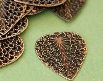 24pcs 27mm Antique Bronze Leaf Filigree Pendants E258Y-NFAB