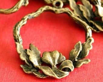 Sale 10pcs Antique Bronze Drop Flower Pendants EA11644Y-AB