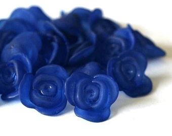 Sale 80pcs Deep Blue Acrylic Rose Flower Beads PAB1937Y-DP