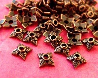 50pcs 6mm Antique Copper Four Leaf Bead Caps