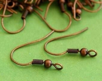 Nickel Free 100pcs Antique Copper Finish Earwire Hooks E135-NFR