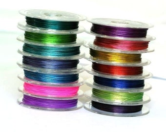 5 Roll x 10M Tiger Tail Beading Wire Spool 7 Thread 0.45mm-Mix color