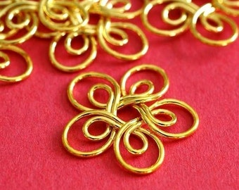Clearance 10pcs Golden Wire Flowers E359Y-G