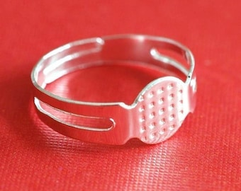 Sale 10pcs Silver Finish Pad Ring Base Blank Rings R1