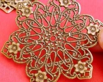 6pcs 62mm Antique Bronze Flower Filigree Flower Wraps A932