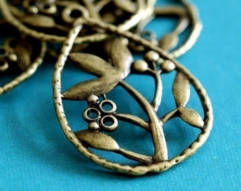 Sale 10pcs Antique Bronze Flower In Drop Pendants EA11057Y-AB
