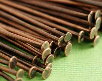 200pcs 2in Antique Copper HEADPINS FINDING 50mm