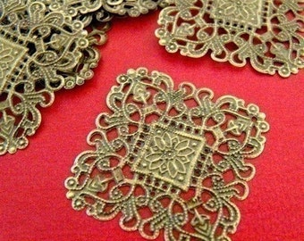 Sale 10pcs 40mm Antique Bronze Filigree Diamond Patchs A10-1