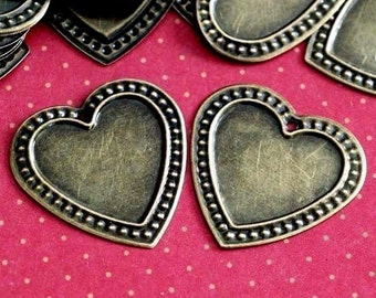 24pcs 26mm Antique Bronze Heart Cameo Base Settings AB0305