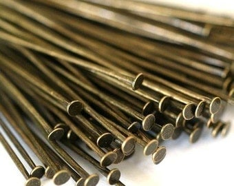 150ps 35mm Antique Bronze Headpins FINDING