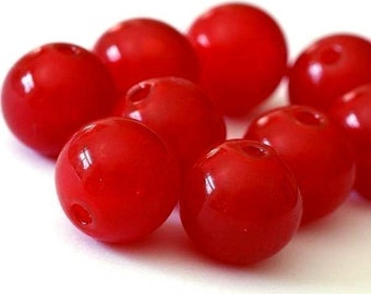 10pcs 12mm Red Blown Glass Hollow Roundelles 62
