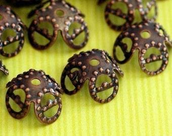 50pcs 8mm Antique Copper Filigree Bead Caps A020-R