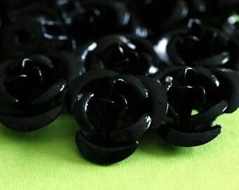 Clearance 50pcs 12mm Black Aluminum Rose Flower Beads AF12MM011Y