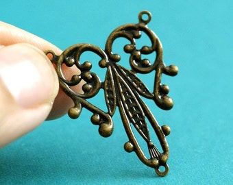 Top Quality 20pcs Antique Brass Filigree Connector - Lead Free