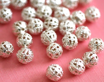 Sale 50pcs 6mm Silver tone FILIGREE BEADS A048-S