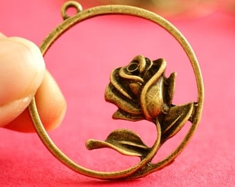 Sale 4pcs Antique Bronze Round With Rose Pendants
