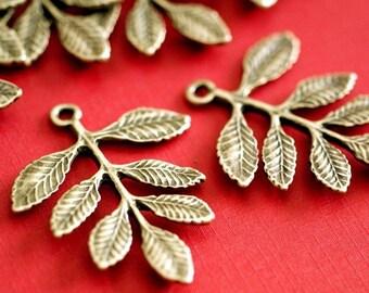 Sale 10pcs 34mm Antique Bronze Leaf Connectors
