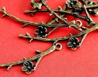 24pcs Antique Bronze Branch Twig with Flower Pendants EA11640Y-AB
