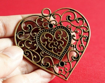 Sale 2pcs Antique Bronze Big Heart Pendants EA12365Y-AB