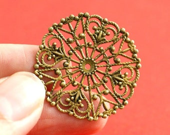 Top Quality 6pcs Antique Brass Round Filigree Patch - Lead Free