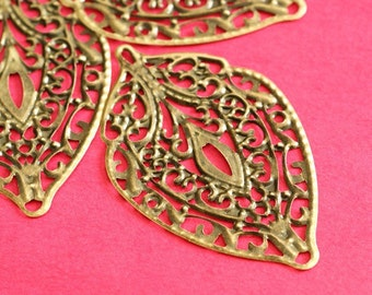 10pcs 56mm Antique Bronze Filigree Leaf Pendants