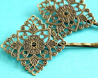 8pcs Antique Bronze Bobby Pins With Diamond Pad